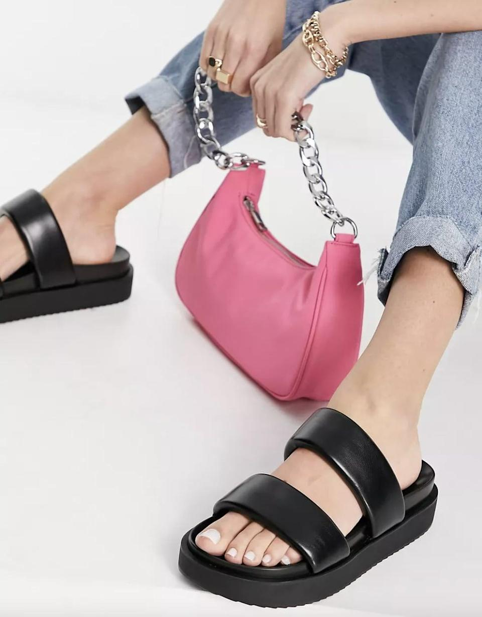 <p><span>Pull&amp;Bear Faux Leather Sandals in Black</span> ($50)</p>
