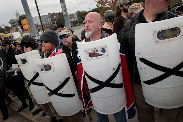 <p>White nationalist attend a rally on Oct. 28, 2017 in Shelbyville, Tenn. (Photo: Scott Olson/Getty Images) </p>