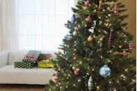 <p>If you use classically shaped ornaments in colorful hues and patterns—in addition to a single color of lights—your traditional tree will have a more modern spin.</p>