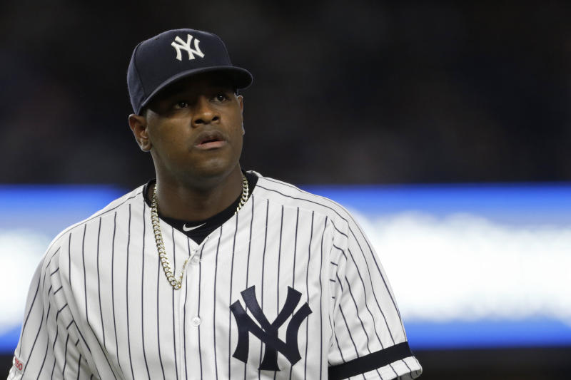 Sep 17, 2019; Bronx, NY, USA; New York Yankees pitcher Luis Severino (40) walks to the dugout against the Los Angeles Angels during the third inning at Yankee Stadium. Mandatory Credit: Adam Hunger-USA TODAY Sports