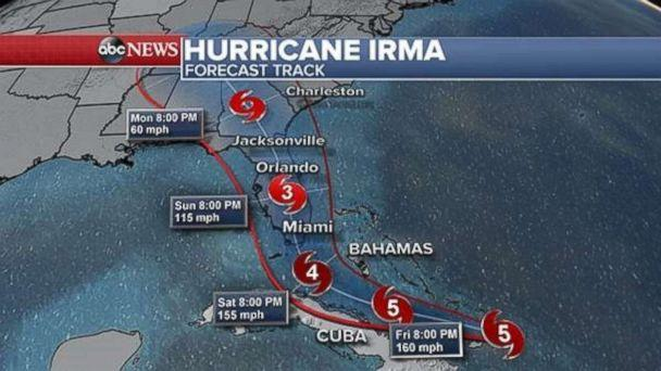 The latest projections on Thursday, Sept. 7, 2017 show Hurricane Irma will approach South Florida late Saturday or early Sunday. (ABC NEWS)