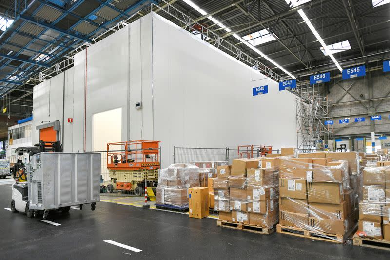 A cold room under construction that is specially prepared for the cooling of medicines and vaccines is seen at Amsterdam's Schiphol Airport