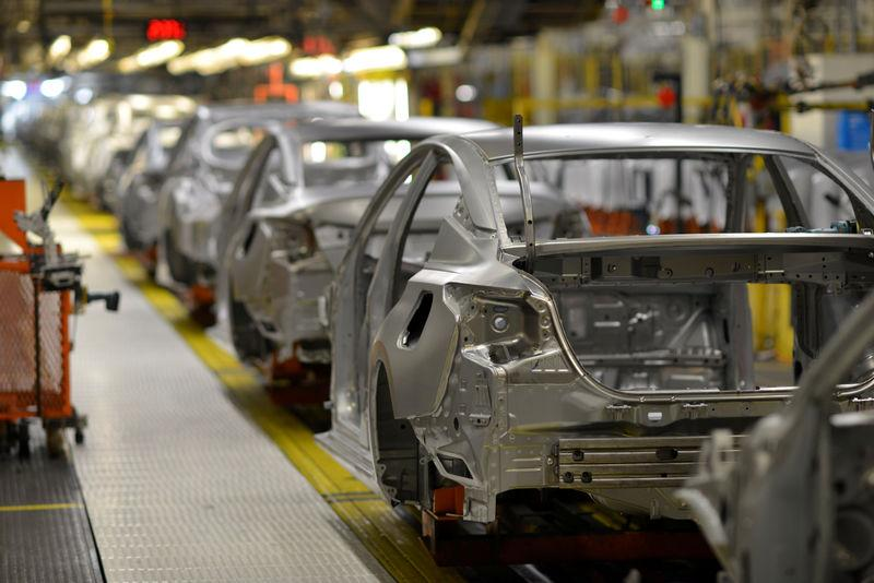 FILE PHOTO: Frames of various car models make their way down the flex line at Nissan Motor Co's automobile manufacturing plant in Smyrna Tennessee