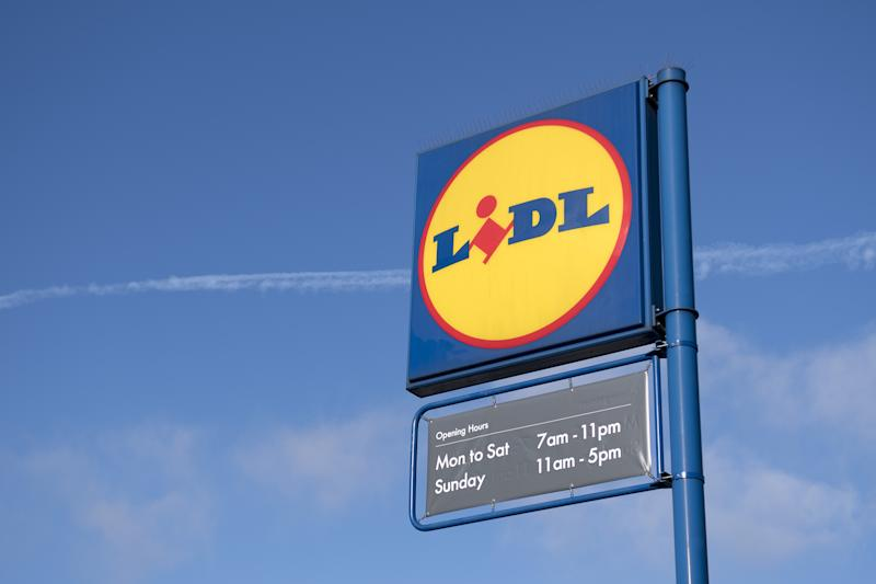 Signage is pictured at a branch of Lidl supermarket in south London, on January 10, 2018. - Traditional supermarket chains, such as Tesco, Sainsbury's and Morrisons, benefited by between 2% and 3% sales growth in value, but to a much lesser degree than German discount companies Aldi and Lidl (up 16.8 % each) who are taking a larger and larger share of the cake. (Photo by Justin TALLIS / AFP) (Photo credit should read JUSTIN TALLIS/AFP via Getty Images)