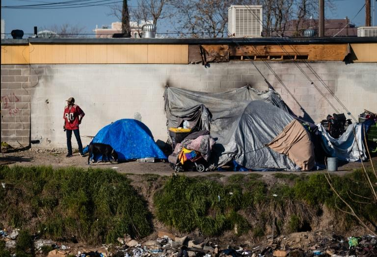A homeless encampment near a dried up river bed in Stockton, California