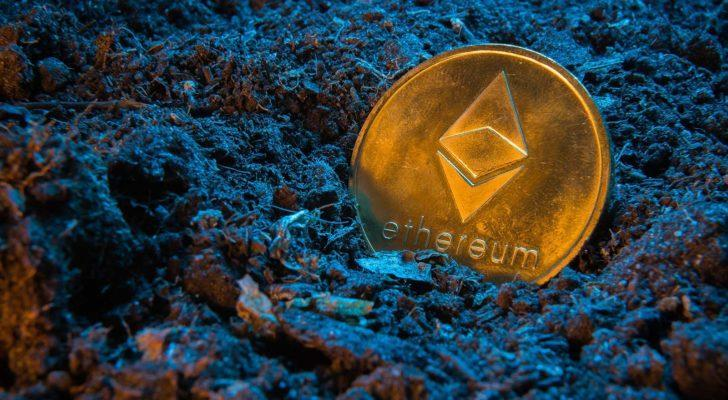 A concept image of mining an Ethereum (ETH) token.