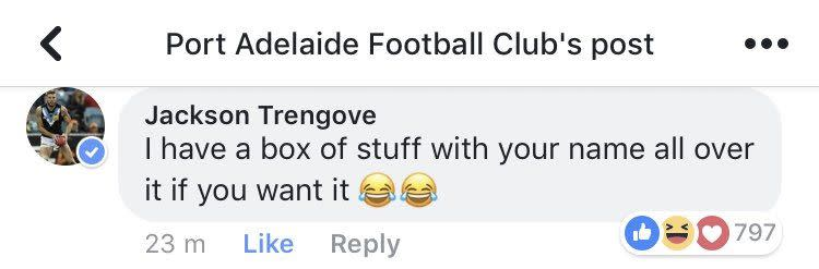 New Bulldogs player Jackson Trengove welcomed Jack Trengove to Port on Facebook.