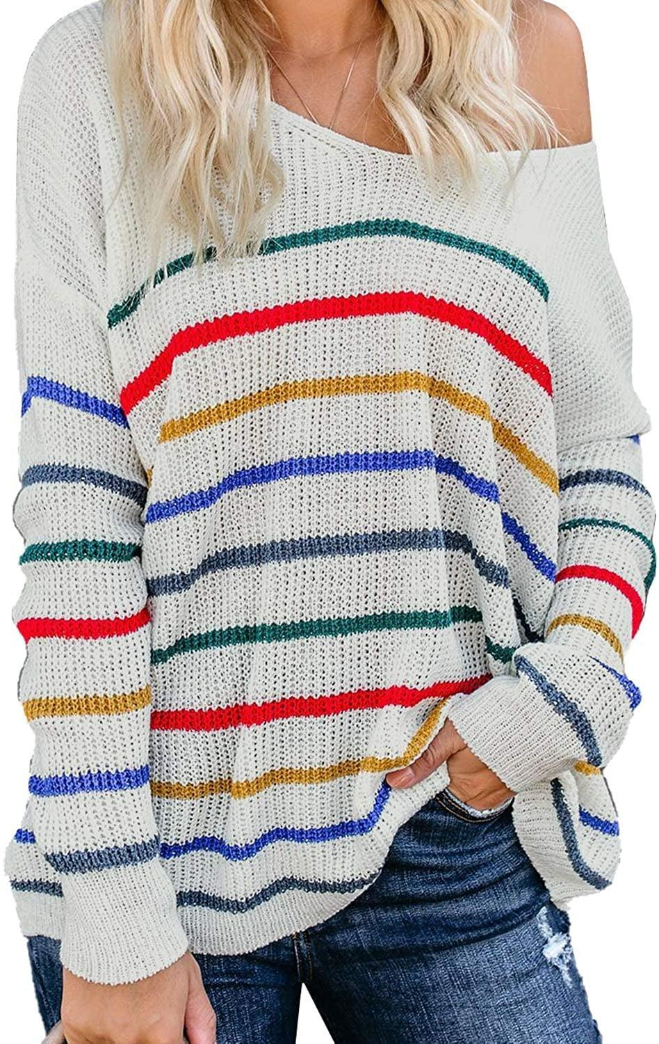 """<p>Pair this slouchy <span>Actloe Lightweight Rainbow-Striped Pullover</span> ($30) with your <a href=""""https://www.popsugar.com/latest/Denim"""" class=""""link rapid-noclick-resp"""" rel=""""nofollow noopener"""" target=""""_blank"""" data-ylk=""""slk:favorite pair of jeans"""">favorite pair of jeans</a>.</p>"""