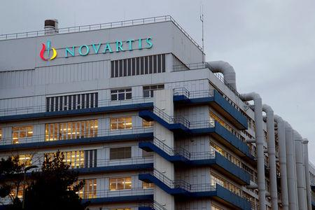 FILE PHOTO: Logo of Swiss drugmaker Novartis is seen at its branch in Schweizerhalle near Basel