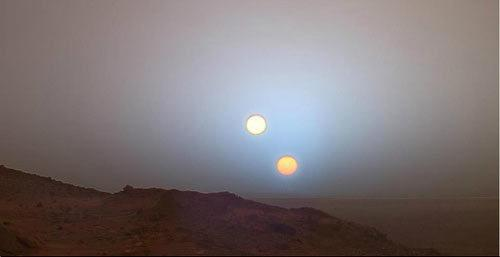 Fabricated image of a double sunset on Mars.
