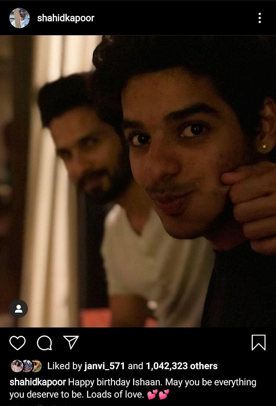 Shahid and Ishaan in an Instagram post for the latter's birthday