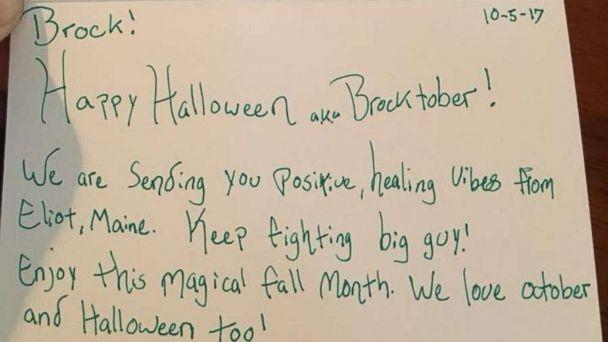 PHOTO: Brock Chadwick, 7, has received Halloween cards from all over the world including France, the United Kingdom and Scotland. (Courtesy Brittney Horton)