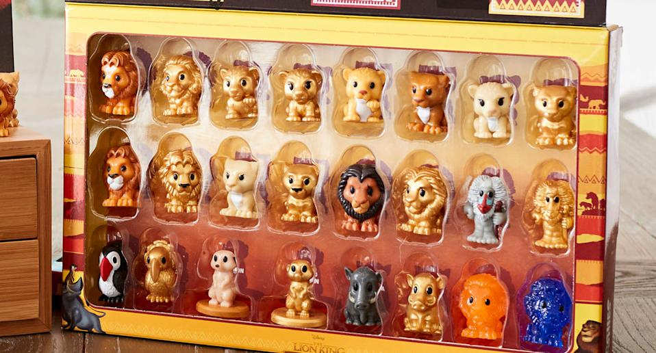 Pictured are all of the Woolworths Lion King Ooshies in a collectors case.