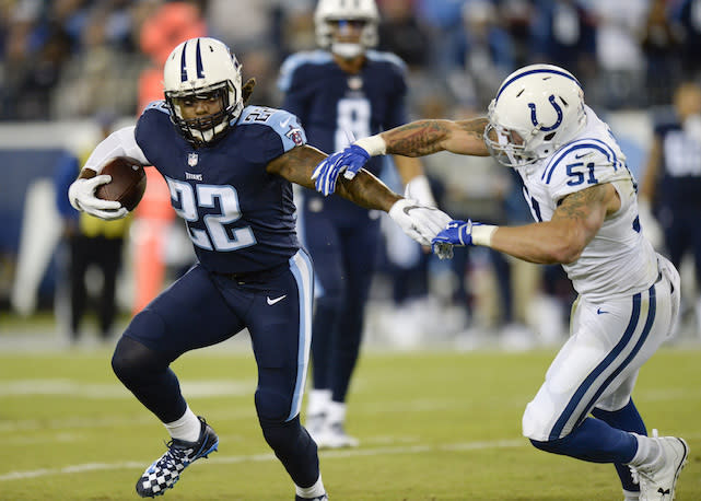 Fantasy fanatics have waited with bated breath for Derrick Henry to bust out. Is this the year the former Heisman winner delivers on the promise? (AP Photo/Mark Zaleski)