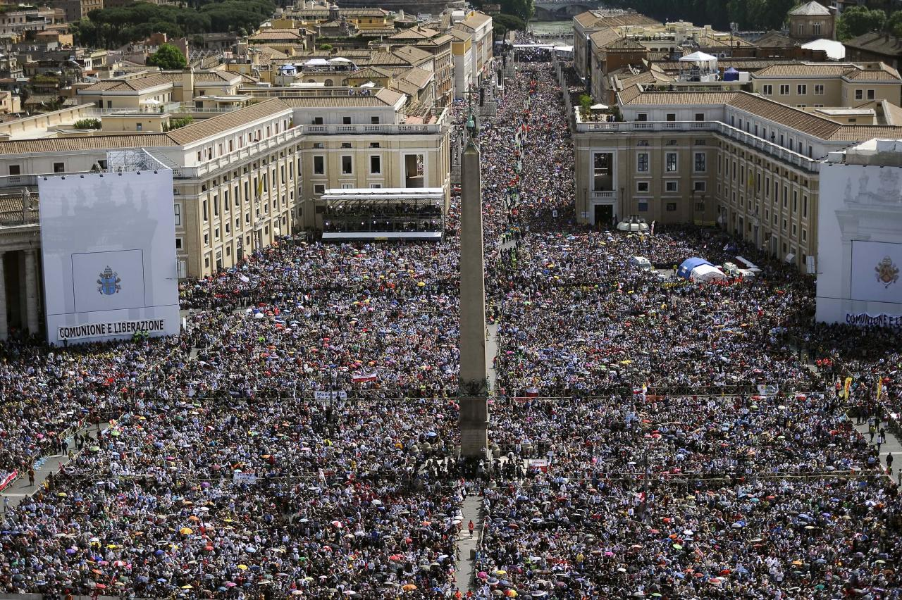 Some one million people crowd St. Peter's Square and surrounding streets at the Vatican during the beatification of late Pope John Paul II, Sunday, May 1, 2011. Pope Benedict XVI beatified his predecessor in the fastest beatification in modern times.
