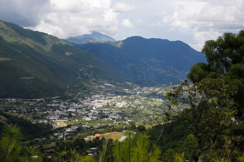 The municipality of Cunen, part of the region where children from the Chiul Indigenous community were massacred in Guatemala's civil war, is pictured, as seen from Cunen