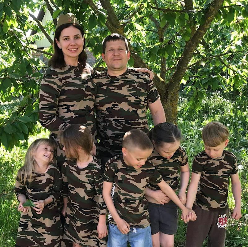 Marina with her ex-husband and five adopted kids. Source: Australscope