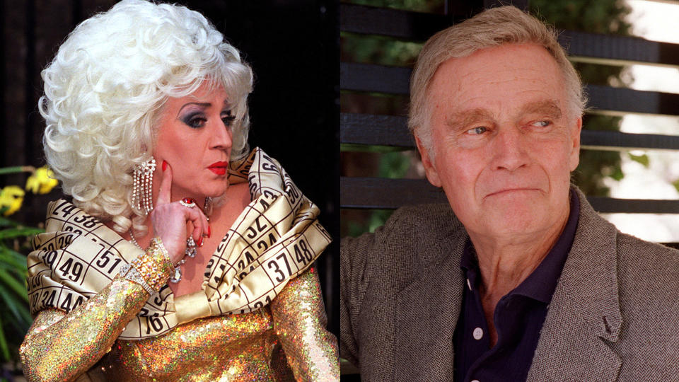 Paul O'Grady says Charlton Heston tried to chat up Lily Savage. (Credit: Peter Jordan/PA Images via Getty Images/M. Caulfield/WireImage)