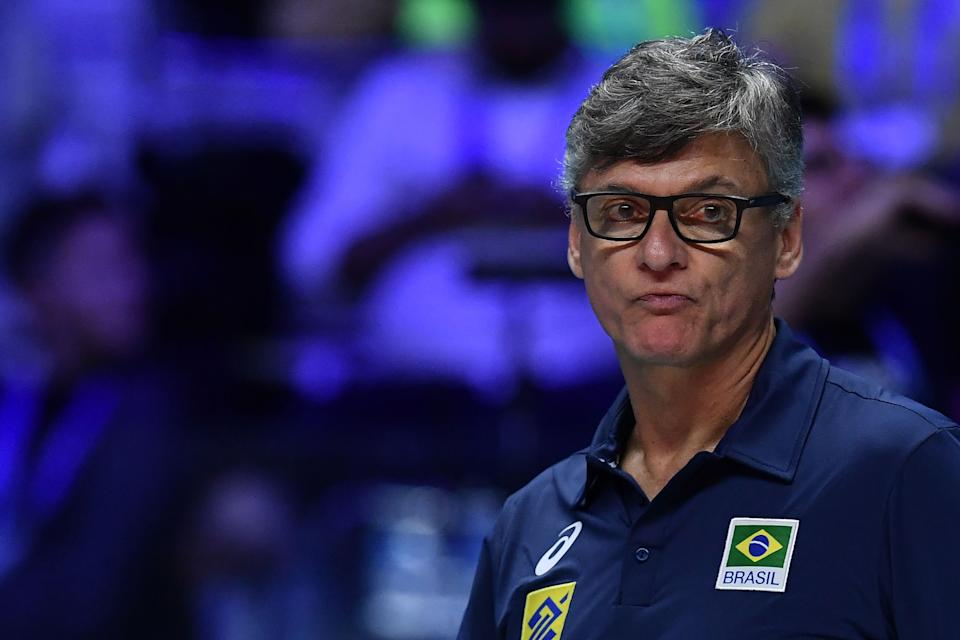 Brazil's coach Renan Dal Zotto looks on during the 2018 FIVB World Championship men's final 1-2 match Brazil vs Poland on September 30, 2018 in Turin. (Photo by MARCO BERTORELLO / AFP)        (Photo credit should read MARCO BERTORELLO/AFP via Getty Images)
