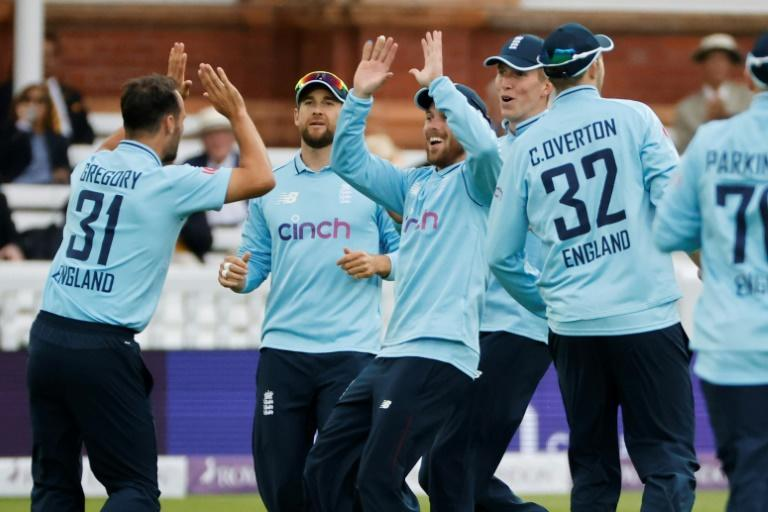 Early strike - England's Lewis Gregory (L) celebrates after dismissing Pakistan opener Imam-ul-Haq for one during the second ODI at Lord's on Saturday