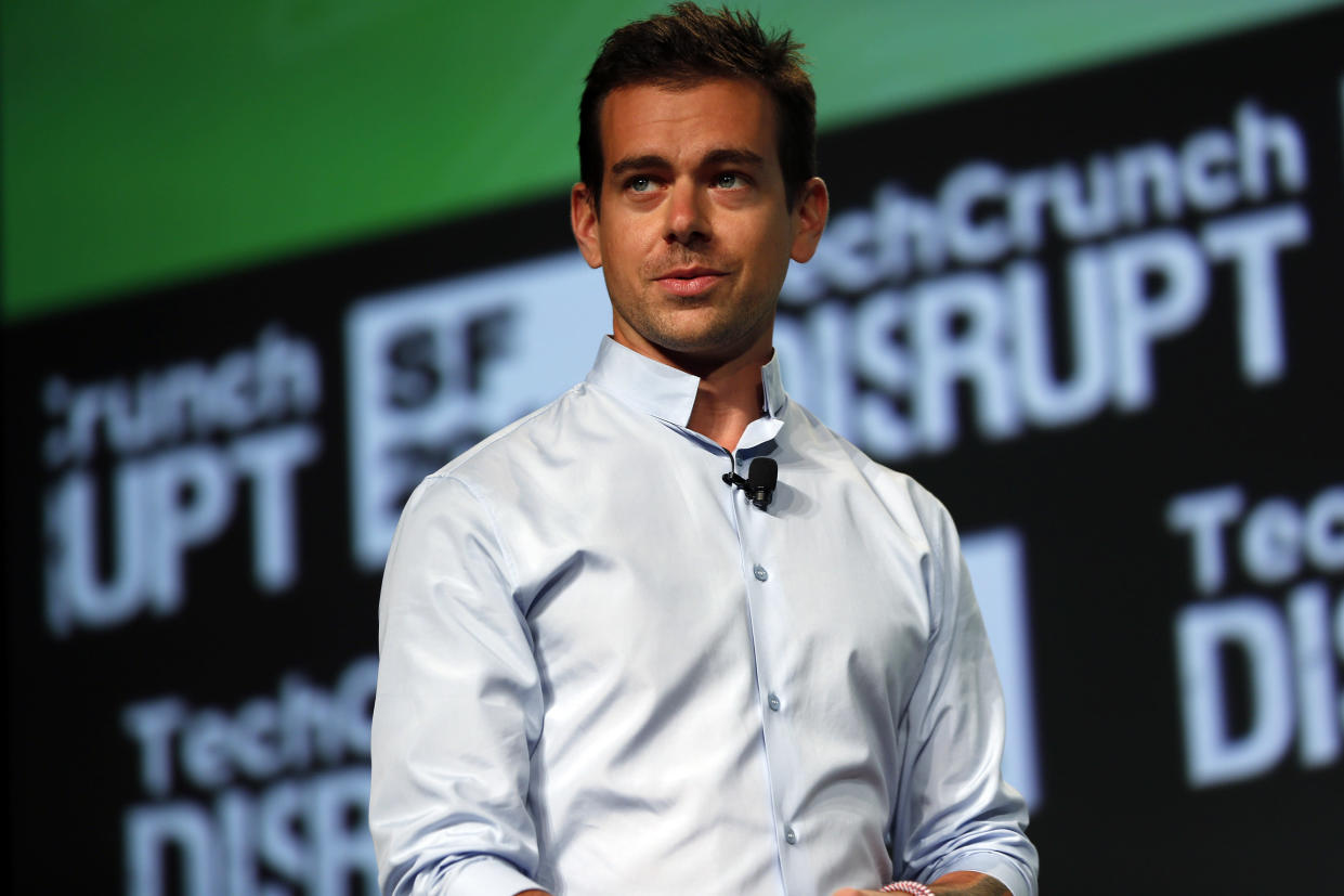 Jack Dorsey, founder of Square and Twitter, speaks on stage during day one of TechCrunch Disrupt SF 2012 event at the San Francisco Design Center Concourse in San Francisco, California September 10, 2012. REUTERS/Stephen Lam