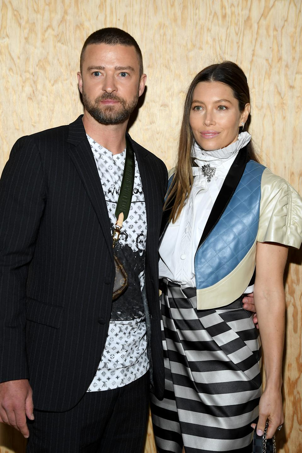 PARIS, FRANCE - OCTOBER 01: Justin Timberlake and Jessica Biel attend the Louis Vuitton Womenswear Spring/Summer 2020 show as part of Paris Fashion Week on October 01, 2019 in Paris, France. (Photo by Pascal Le Segretain/Getty Images)