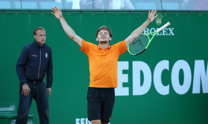 David Goffin celebrates his victory over Novak Djokovic – his first win over a top-three opponent in 14 attempts.