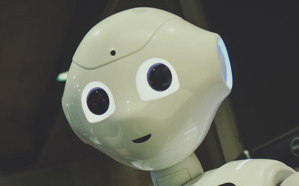 The face of an android robot.