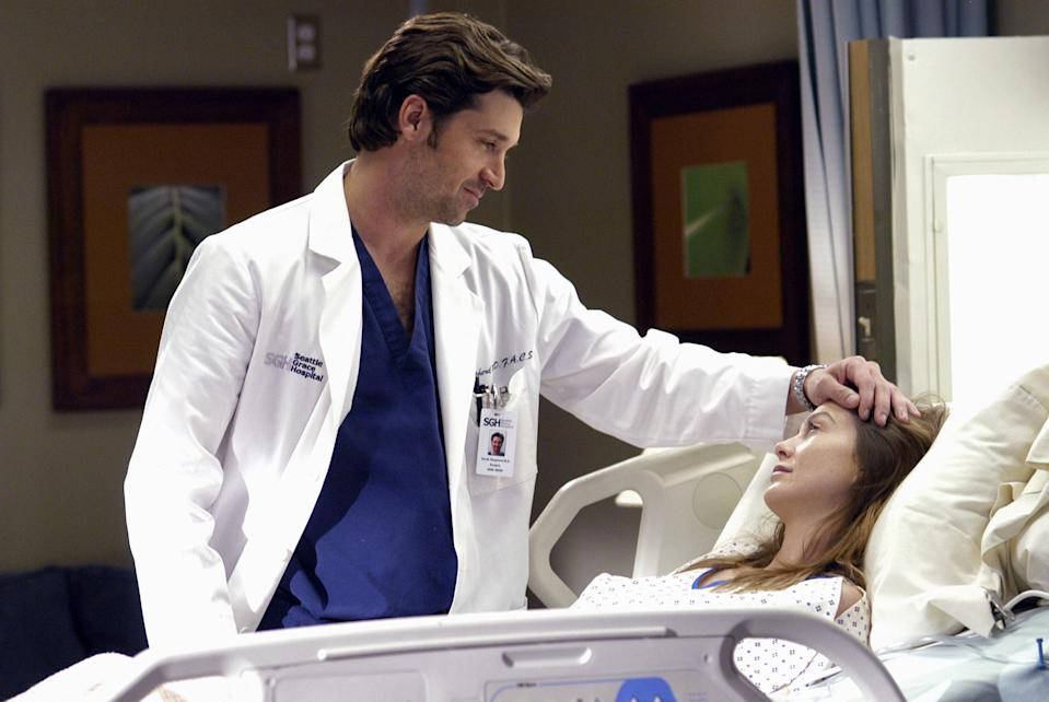 """<p>There's something oddly soothing about this medical procedural, despite the fact it's absolutely bonkers. Maybe it's Ellen Pompeo's narration. Maybe it's Patrick Dempsey's face. Either way, you'll find yourself watching six hours of this show straight on more than one occasion. Good thing there are 16 seasons of it available.</p> <p><a href=""""https://www.netflix.com/title/70140391"""" rel=""""nofollow noopener"""" target=""""_blank"""" data-ylk=""""slk:Available to stream on Netflix"""" class=""""link rapid-noclick-resp""""><em>Available to stream on Netflix</em></a></p>"""