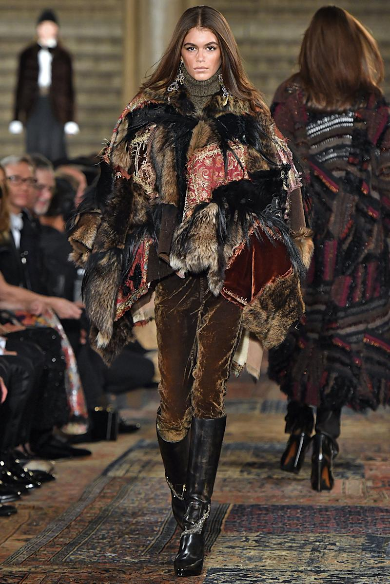 Kaia Gerber walks the runway for Ralph Lauren fashion show during New York Fashion Week on September 7, 2018 in New York City. Photo courtesy of Getty Images.