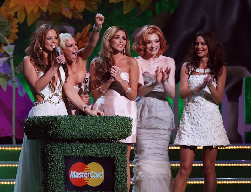 Girls Aloud collect their Best Single Award on stage at the Brit Awards 2009 held at Earls Court on February 18, 2009 in London.