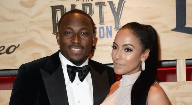 The Buffalo Bills' LeSean McCoy, pictured with ex-girlfriend Delicia Cordon outside a Super Bowl party in 2017, denies assault charges that were lobbed at him via social media. (Getty Images)