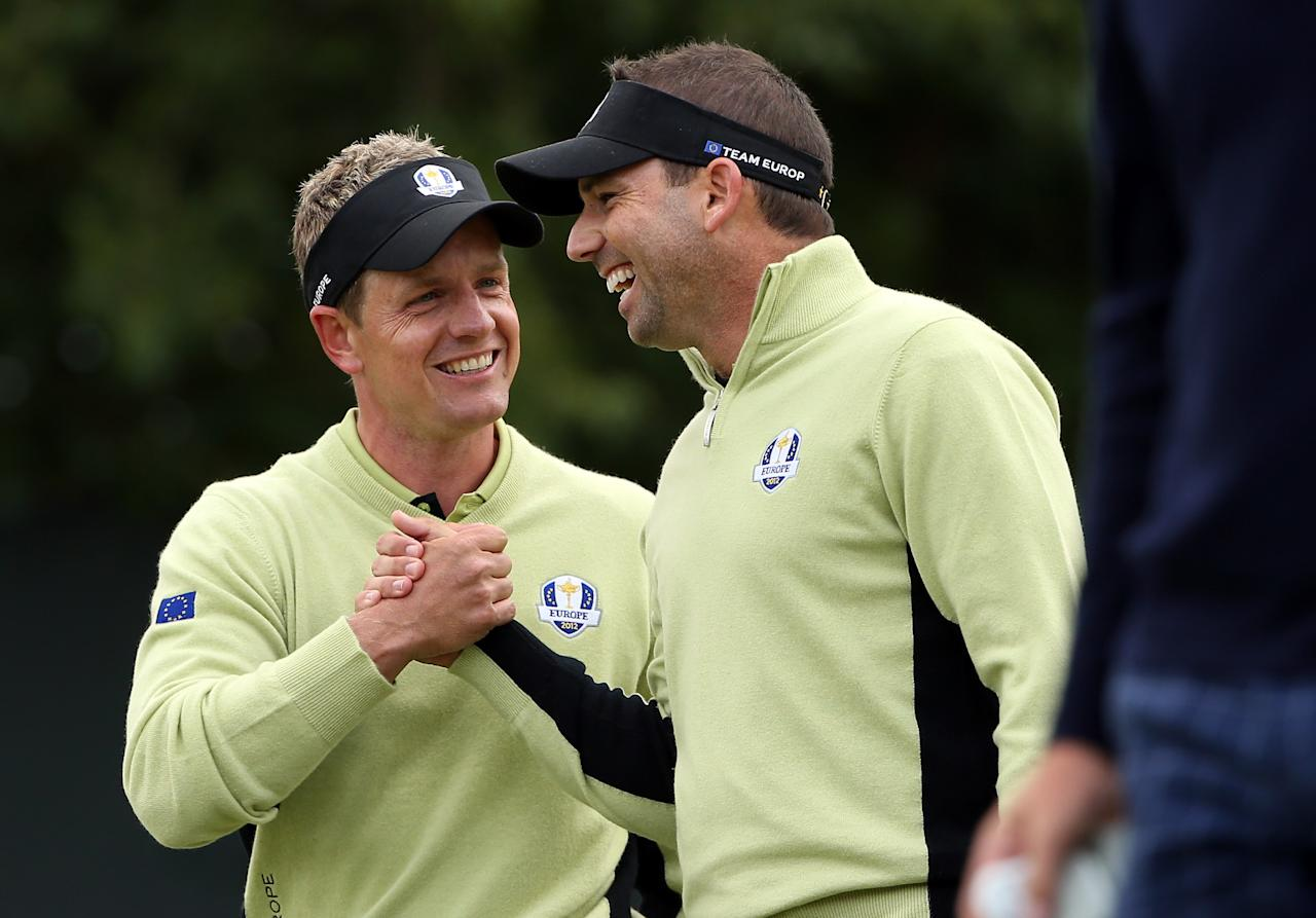 MEDINAH, IL - SEPTEMBER 28:  Luke Donald and Sergio Garcia of Europe celebrate on the fifth green during the Morning Foursome Matches for The 39th Ryder Cup at Medinah Country Club on September 28, 2012 in Medinah, Illinois.  (Photo by Ross Kinnaird/Getty Images)