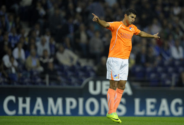 Apoel FC's Brazilian forward Ailton celebrates after scoring a goal during their UEFA Champions League Group G football match Porto vs Apoel at the Dragao Stadium in Porto, on October 19, 2011. AFP PHOTO / MIGUEL RIOPA (Photo credit should read MIGUEL RIOPA/AFP/Getty Images)