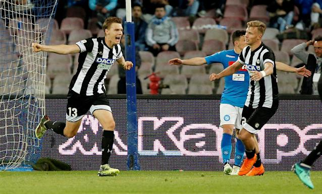 Soccer Football - Serie A - Napoli vs Udinese Calcio - Stadio San Paolo, Naples, Italy - April 18, 2018 Udinese's Svante Ingelsson celebrates scoring their second goal REUTERS/Ciro De Luca