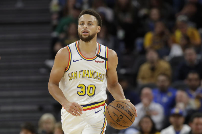 Golden State Warriors guard Stephen Curry (30) against the Toronto Raptors during an NBA basketball game in San Francisco, Thursday, March 5, 2020. (AP Photo/Jeff Chiu)