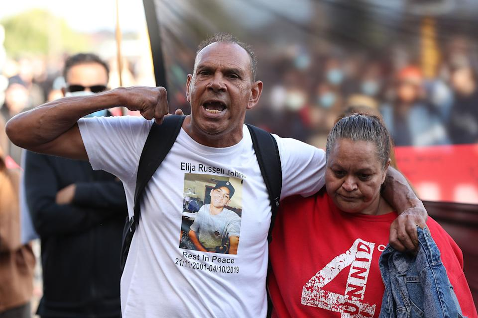 Protesters participate in a Black Lives Matter rally at Langley Park on June 13, 2020, in Perth. The event was organised in solidarity with protests in the United States and to rally against Aboriginal deaths in custody in Australia. (Photo: Paul Kane via Getty Images)