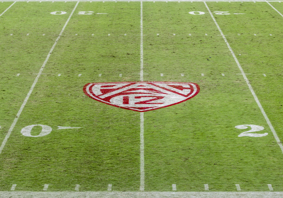 PALO ALTO, CA - NOVEMBER 14:  A high angle view of the Pac-12 logo on the field at Stanford Stadium during a game between the Stanford Cardinal and the Colorado Buffaloes played on November 14, 2020 in Palo Alto, California.  (Photo by David Madison/Getty Images)