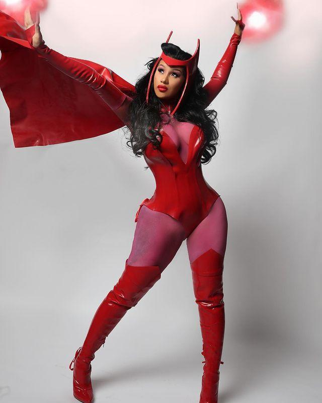 """<p>For her second Halloween outfit the 28-year-old dressed up as Marvel superhero Scarlet Witch.</p><p><a href=""""https://www.instagram.com/p/CHEX_ZHAc8L/"""" rel=""""nofollow noopener"""" target=""""_blank"""" data-ylk=""""slk:See the original post on Instagram"""" class=""""link rapid-noclick-resp"""">See the original post on Instagram</a></p>"""