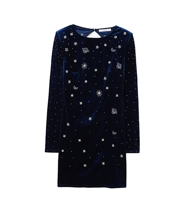 "<p>Printed Velvet Dress, $60, <a href=""https://shop.mango.com/us/women/dresses-short/printed-velvet-dress_13049044.html?c=56&n=1&s=prendas.familia;32"" rel=""nofollow noopener"" target=""_blank"" data-ylk=""slk:mango.com"" class=""link rapid-noclick-resp"">mango.com</a> </p>"