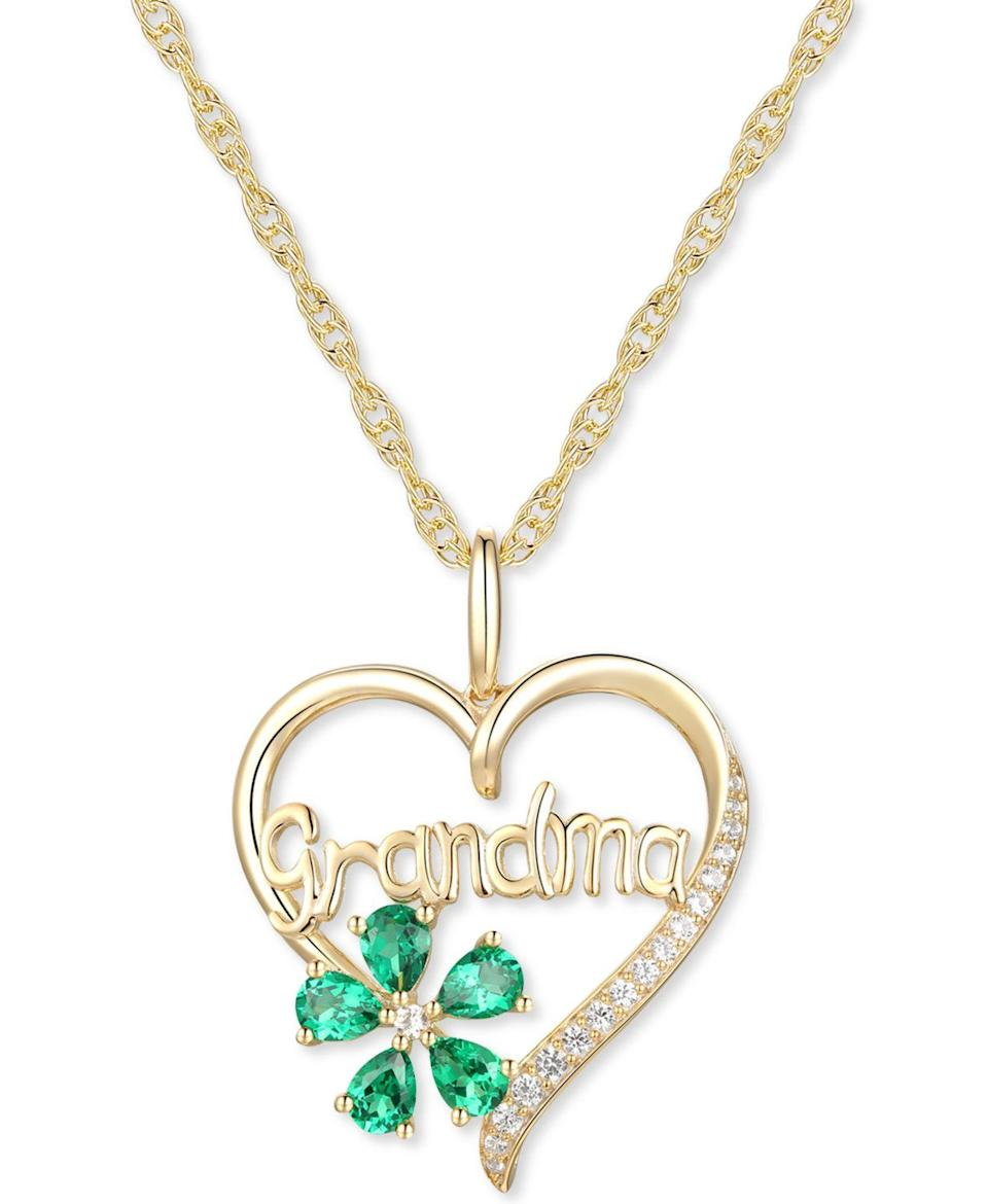 """<br> <br> <strong>Macy's</strong> Grandma 18"""" Pendant Necklace in 10k Gold, $, available at <a href=""""https://go.skimresources.com/?id=30283X879131&url=https%3A%2F%2Fwww.macys.com%2Fshop%2Fproduct%2Flab-created-emerald-5-8-ct.-t.w.-lab-created-white-sapphire-1-10-ct.-t.w.-grandma-18-pendant-necklace-in-10k-gold%3FID%3D10916919%26"""" rel=""""nofollow noopener"""" target=""""_blank"""" data-ylk=""""slk:Macy's"""" class=""""link rapid-noclick-resp"""">Macy's</a>"""