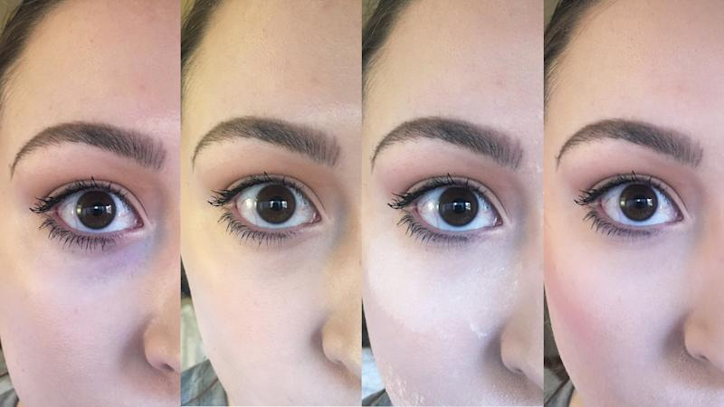 R-L: Bare under eyes; With concealer; With baking powder; With brightening powder