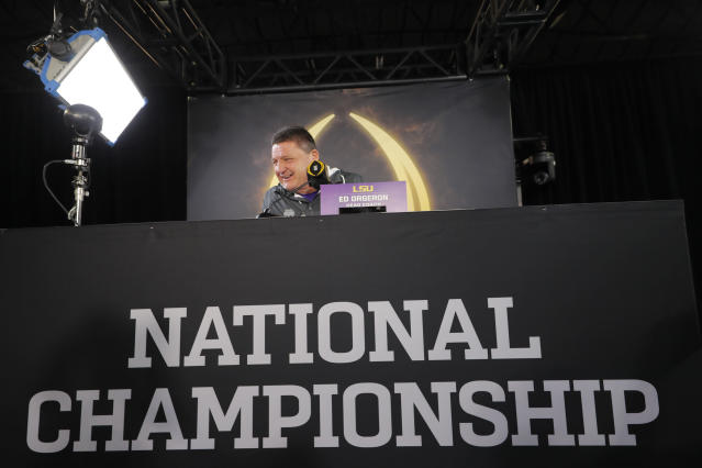 LSU head coach Ed Orgeron speaks during media day for NCAA College Football Playoff national championship game Saturday, Jan. 11, 2020, in New Orleans. Clemson is scheduled to play LSU on Monday. (AP Photo/Gerald Herbert)