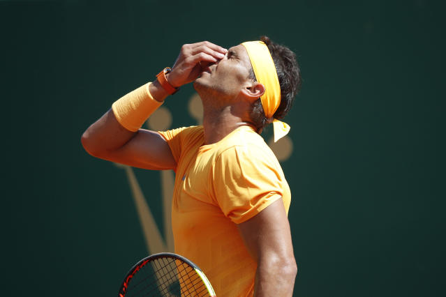 Spain's Rafael Nadal reacts after missing return against Japan's Kei Nishikori during the men's singles final match of the Monte Carlo Tennis Masters tournament in Monaco, Sunday April 22, 2018. (AP Photo/Christophe Ena)