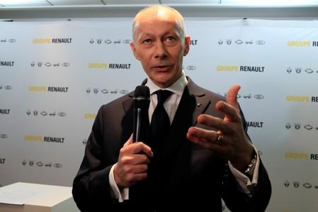 Thierry Bollore, CEO of Renault, talks to journalists after French carmaker Renault's 2018 annual results presentation at their headquarters in Boulogne-Billancourt