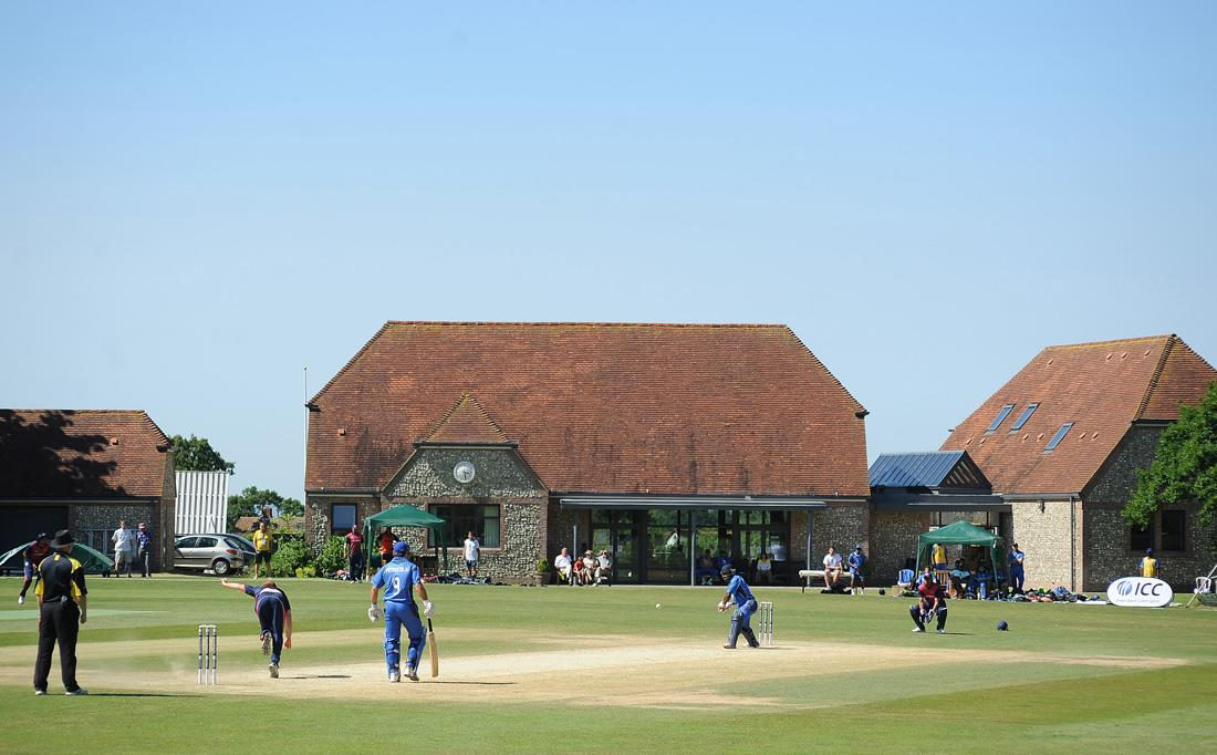 FULKING, UNITED KINGDOM - JULY 09: A general view of the action during the European Division 1 Championship - Group A match between Italy and Norway at Preston Nomads Cricket Club on July 09, 2013 in Fulking, England. (Photo by Charlie Crowhurst/Getty Images)