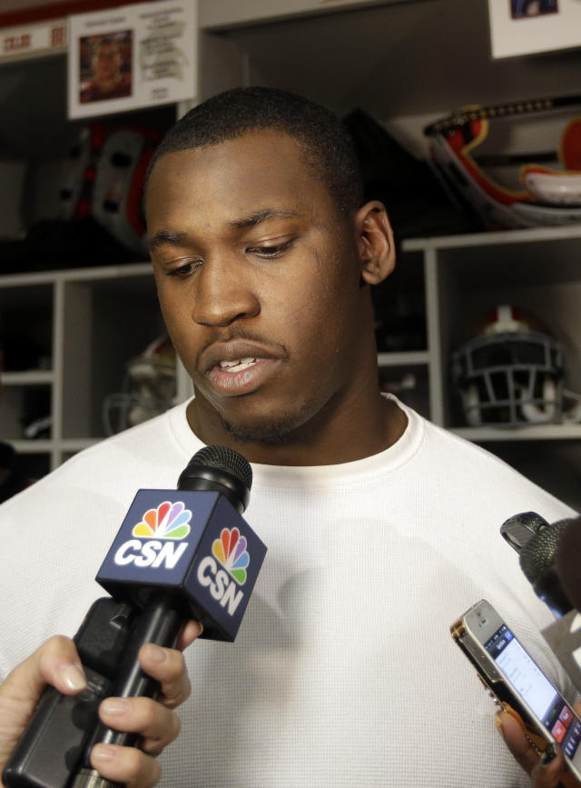 San Francisco 49ers linebacker Aldon Smith fields questions in the team's NFL football practice facility, Tuesday, Nov. 5, 2013, in Santa Clara, Calif. Smith missed the past five games while undergoing treatment for substance abuse. (AP Photo/Marcio Jose Sanchez)