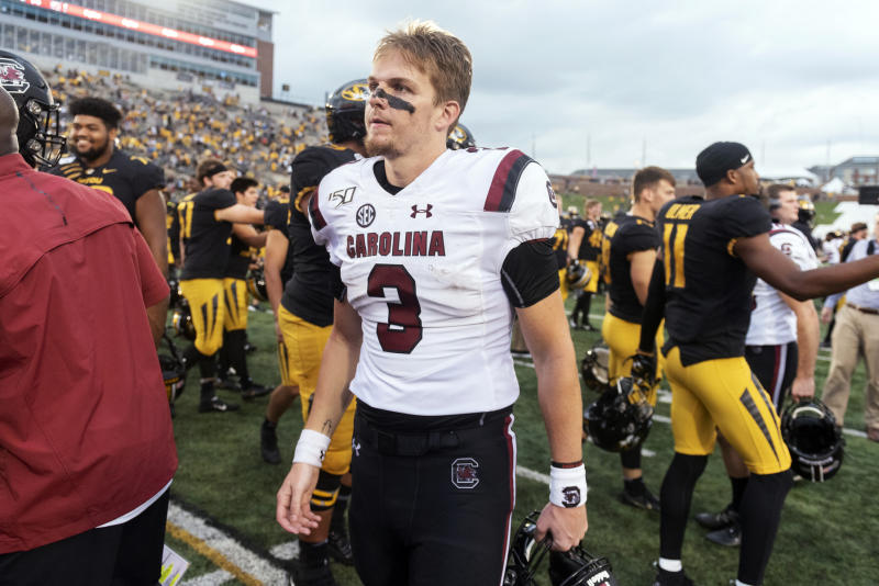 South Carolina starting quarterback Ryan Hilinski walks off the field after his team was beaten 34-14 by Missouri in an NCAA college football game, Saturday, Sept. 21, 2019, in Columbia, Mo. (AP Photo/L.G. Patterson)