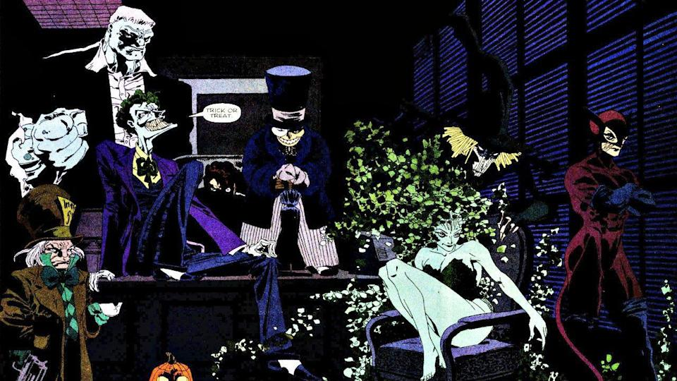 Comic featuring villains including The Joker, Catwoman, and The Riddler