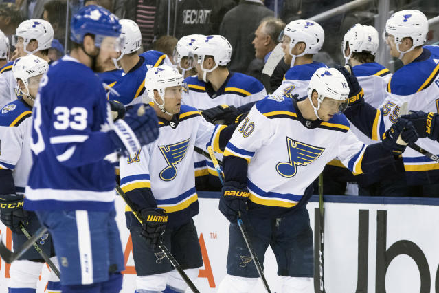 St. Louis Blues center Brayden Schenn (10) celebrates scoring a goal against the Toronto Maple Leafs during the second period of an NHL hockey game, Monday, Oct. 7, 2019 in Toronto. (Chris Young/The Canadian Press via AP)